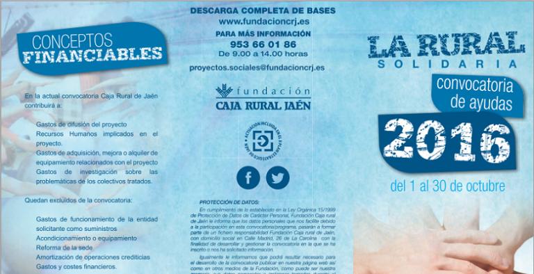 La Caja Rural de Jaén convoca «Rural Solidaria 2016», al que pueden acceder fundaciones y entidades de Villaviciosa